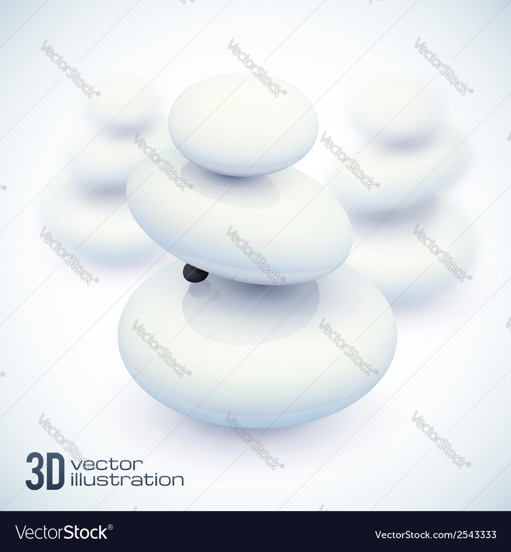 3d white spa stones vector | Price: 1 Credit (USD $1)
