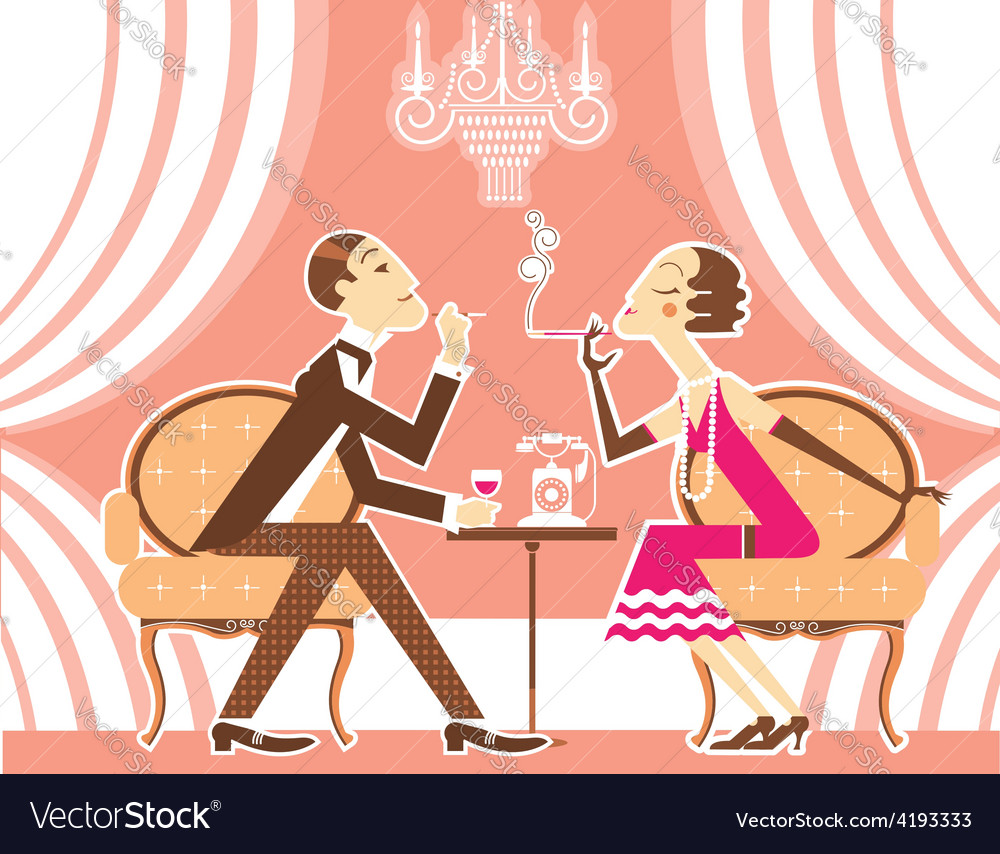 Couple of man and woman in vintage vector | Price: 3 Credit (USD $3)