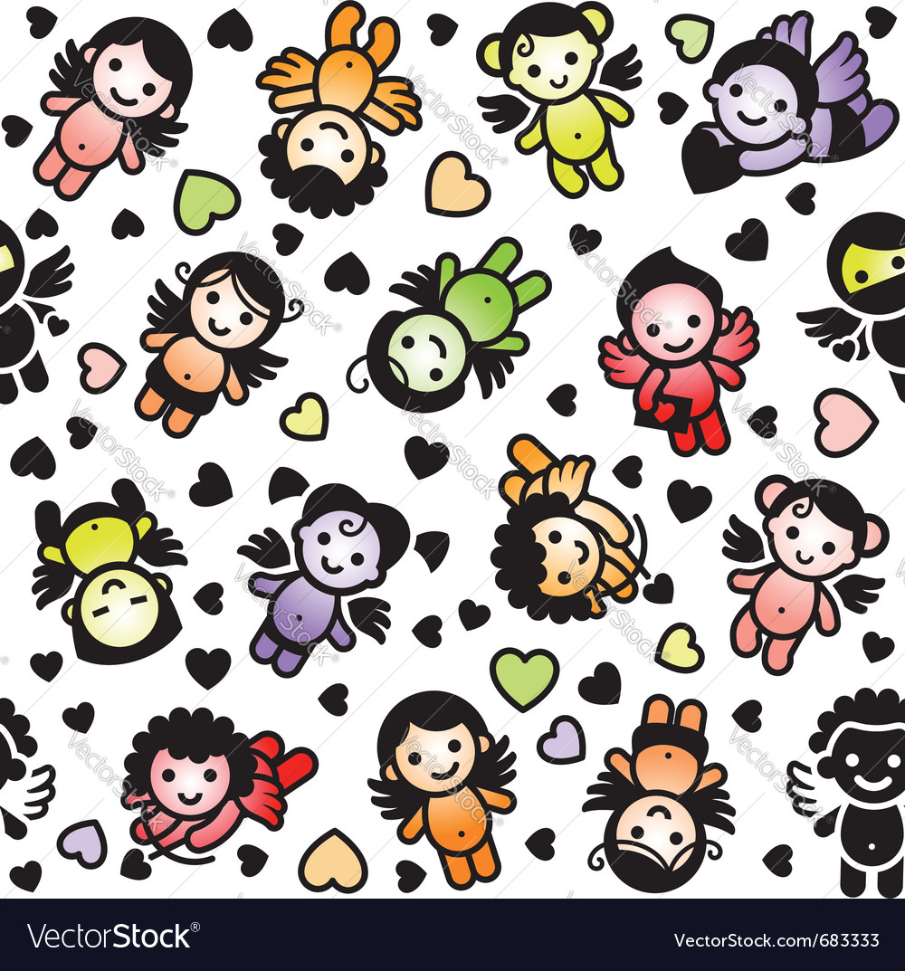 Cupid icons wrapping paper vector | Price: 1 Credit (USD $1)
