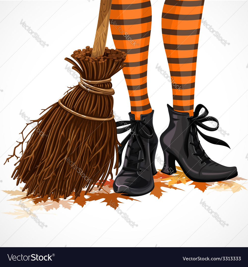 Halloween closeup witch legs in boots vector | Price: 3 Credit (USD $3)