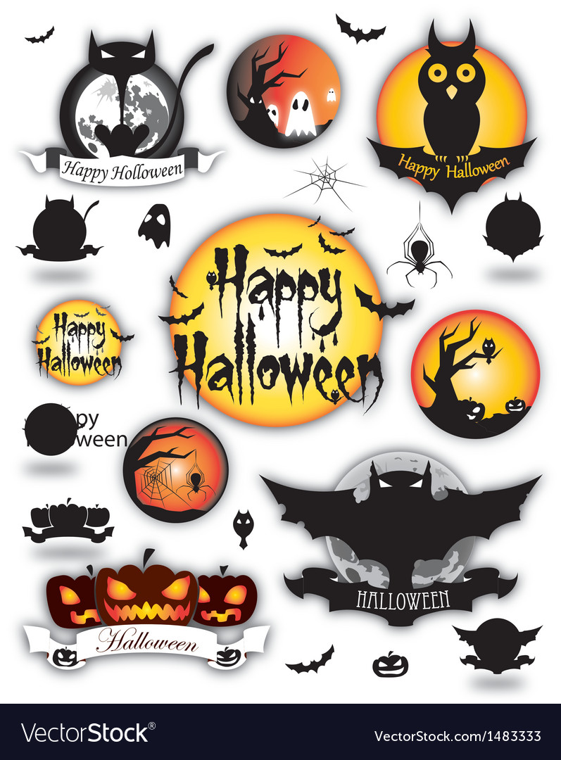 Halloween different elements vector | Price: 1 Credit (USD $1)