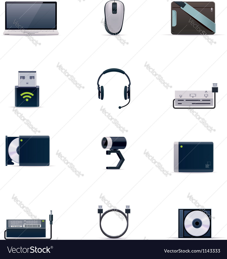 Laptop accessories icon set vector | Price: 5 Credit (USD $5)