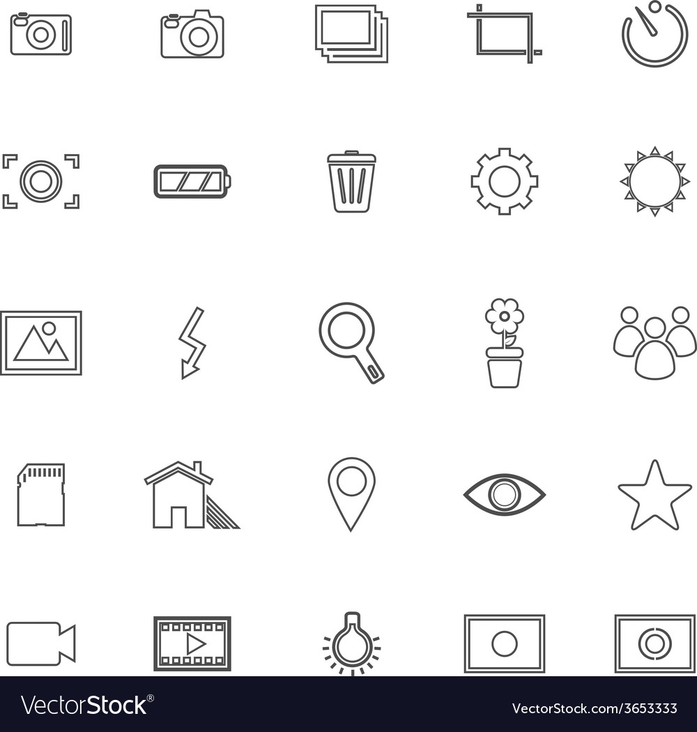 Photography line icons on white background vector | Price: 1 Credit (USD $1)