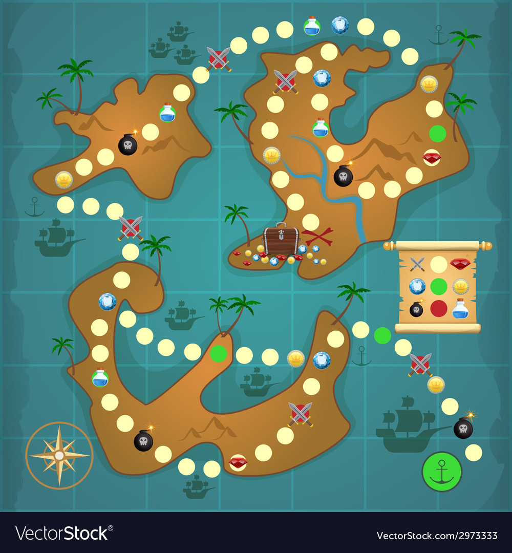 Pirates treasure island game vector | Price: 1 Credit (USD $1)