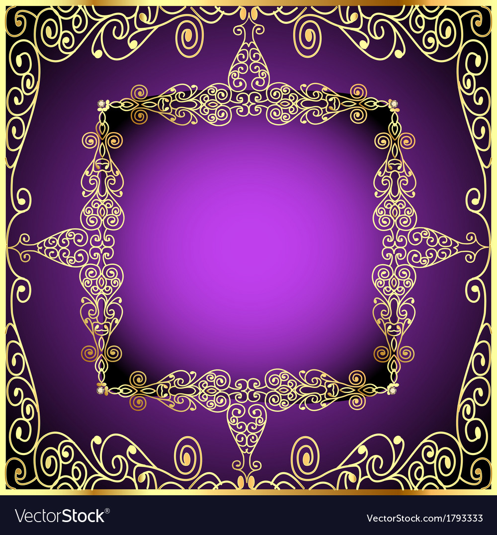 Purple background with gold ornament vector | Price: 1 Credit (USD $1)