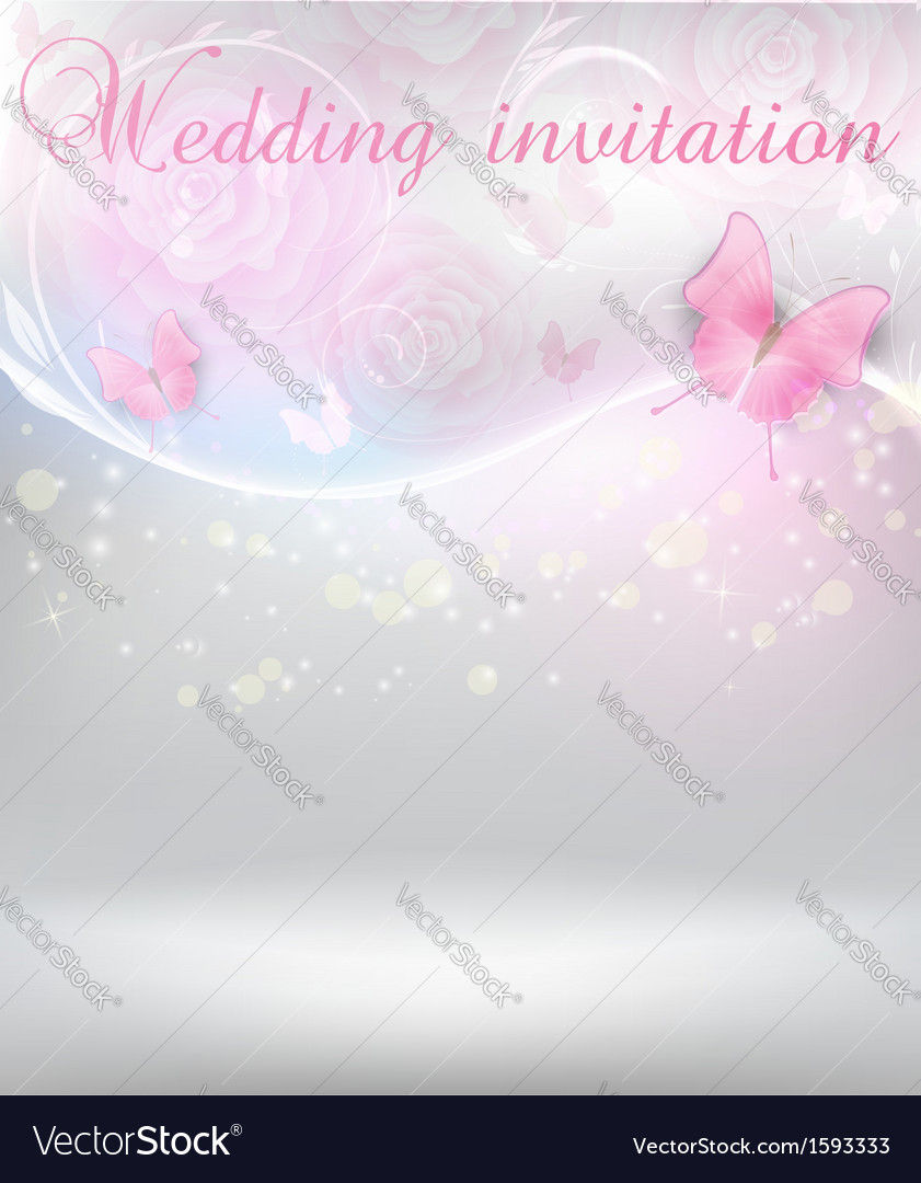 Wedding invitation with butterflies vector | Price: 1 Credit (USD $1)