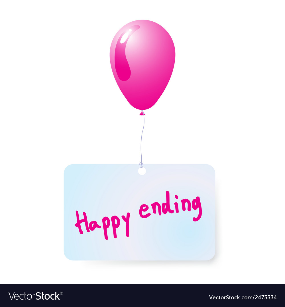 Balloon with happy ending tag vector | Price: 1 Credit (USD $1)