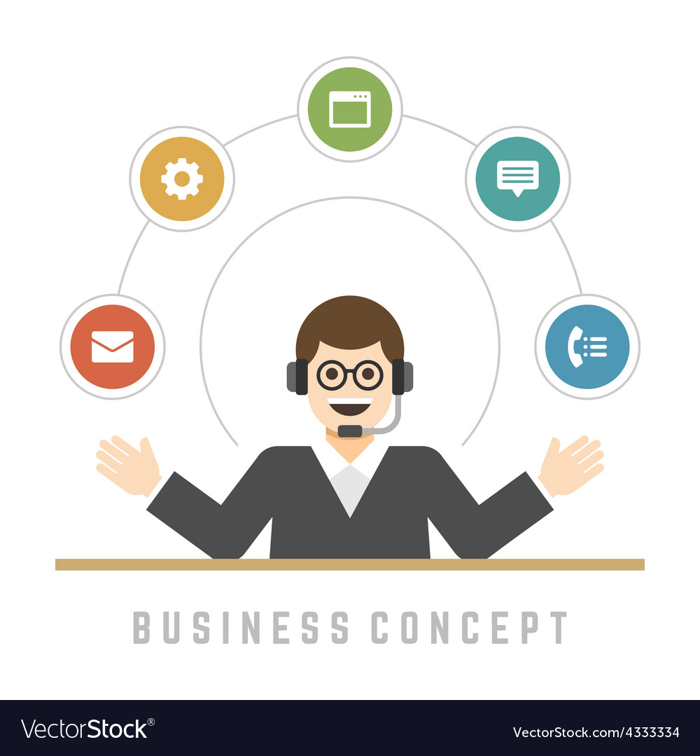 Business man support service concept and flat vector | Price: 1 Credit (USD $1)