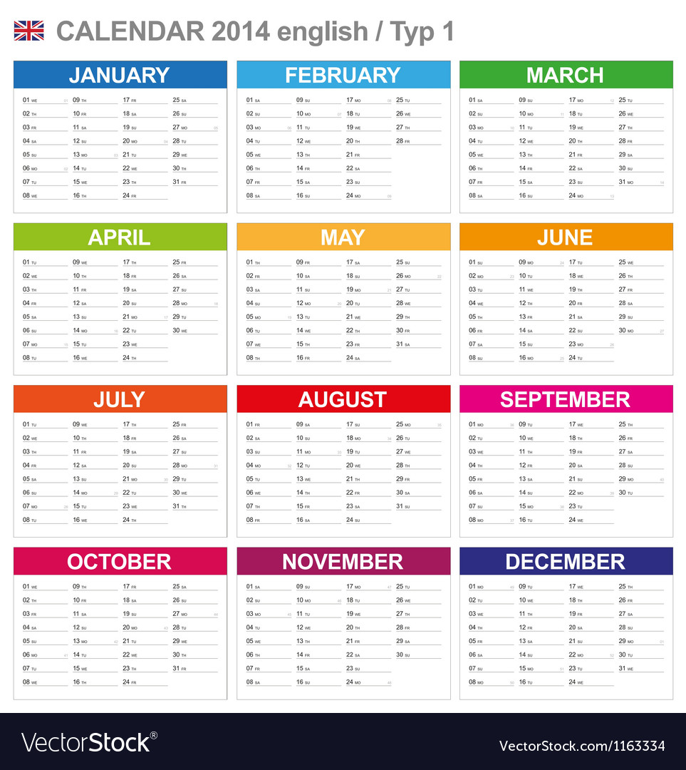 Calendar 2014 english type 1 vector | Price: 1 Credit (USD $1)