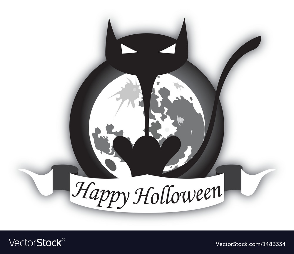 Holloween black cat and moon vector | Price: 1 Credit (USD $1)