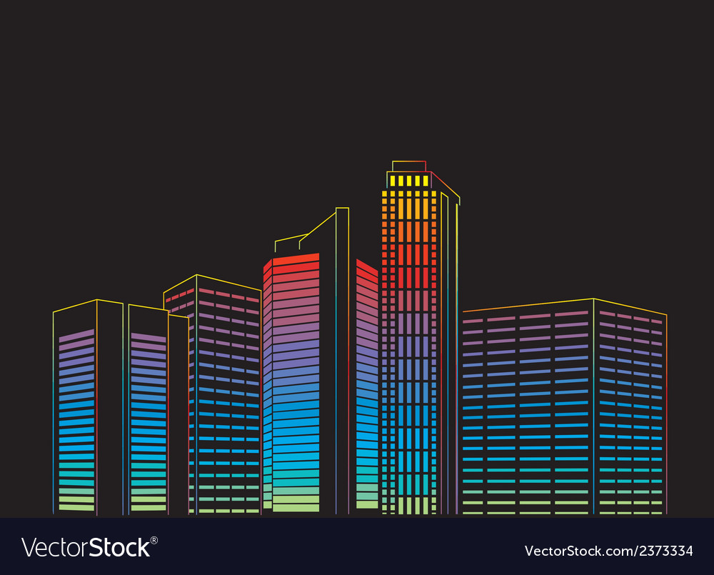 Modern city at night vector | Price: 1 Credit (USD $1)