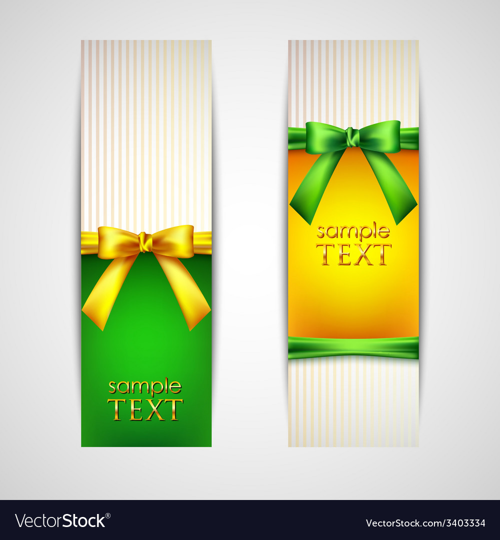 Multicolored banners with bows and ribbons vector | Price: 1 Credit (USD $1)
