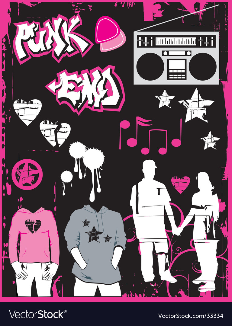 Music set emo vector | Price: 1 Credit (USD $1)