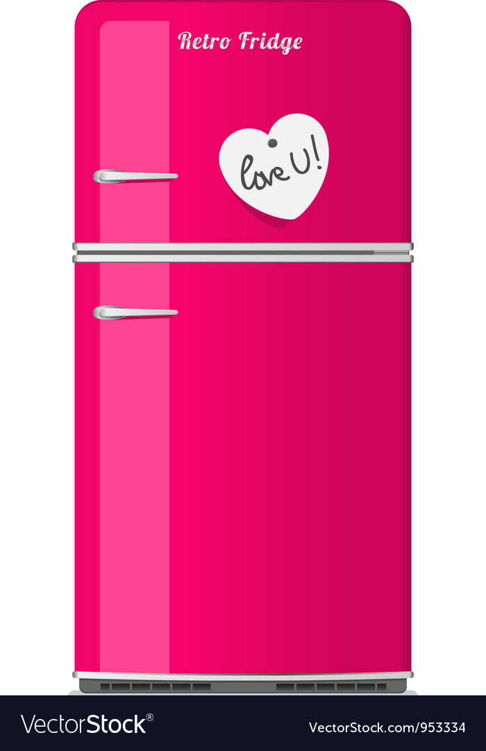 Pink retro fridge with paper note vector | Price: 1 Credit (USD $1)
