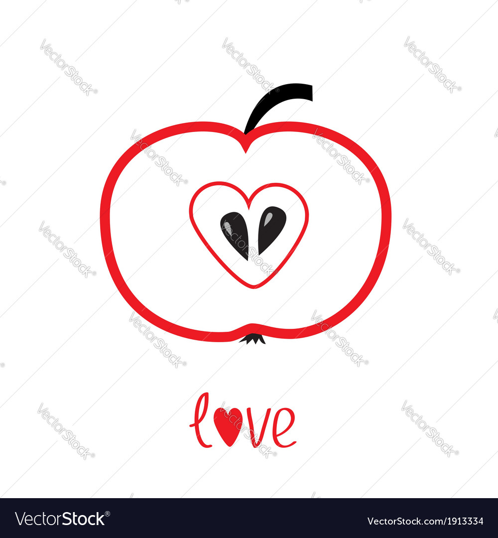 Red apple with heart shape love card vector | Price: 1 Credit (USD $1)