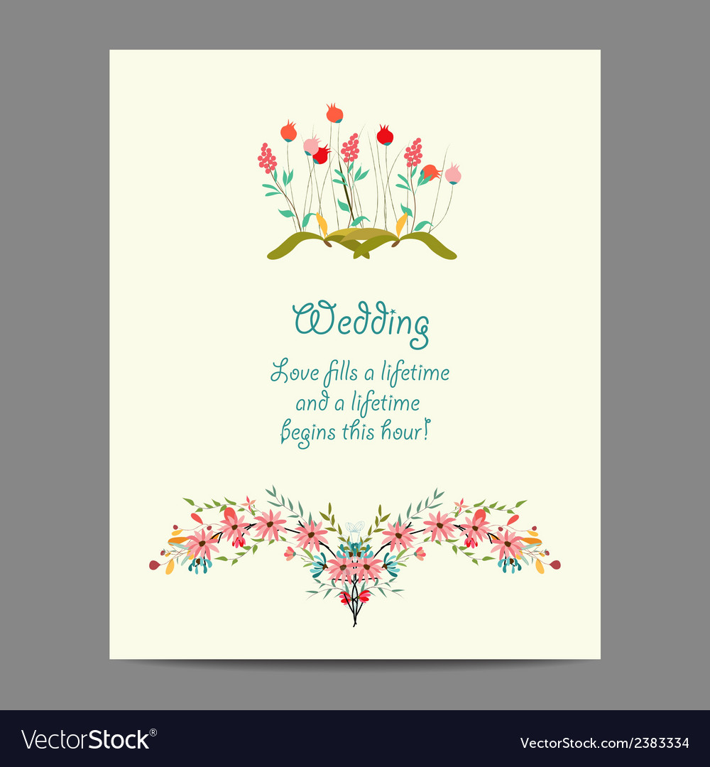 Wedding invitation cards with floral elements vector | Price: 1 Credit (USD $1)