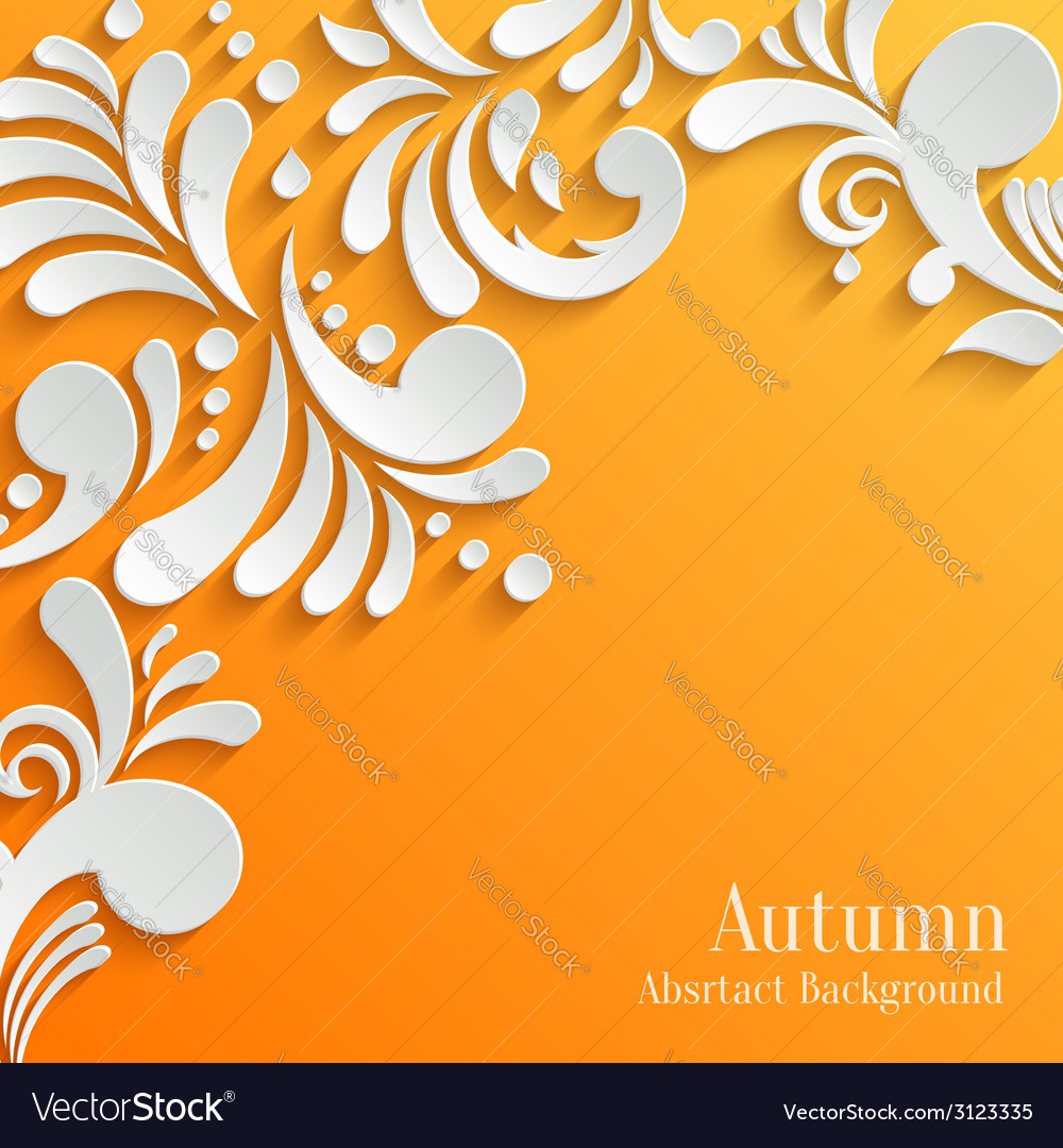 Abstract autumn orange background with 3d floral vector | Price: 1 Credit (USD $1)