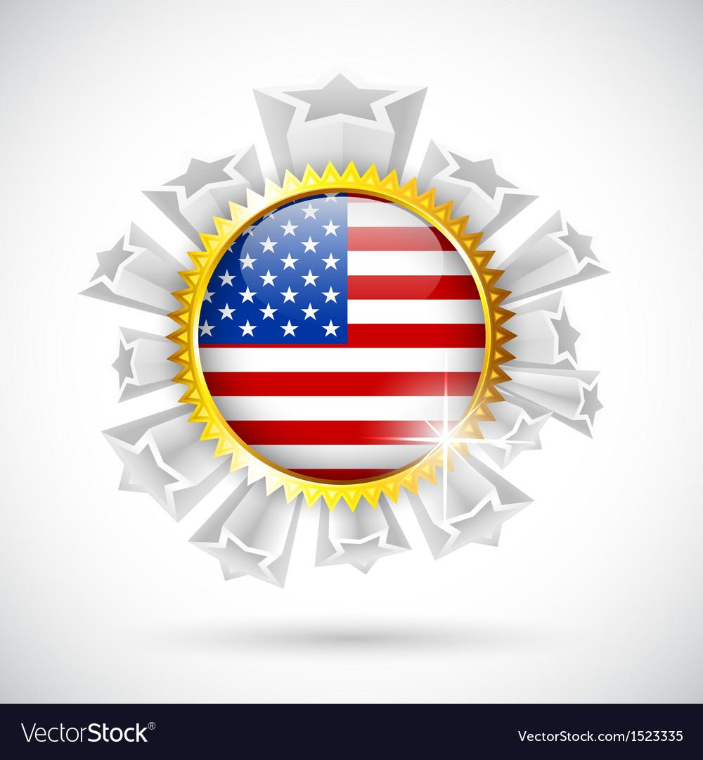 American flag badge vector | Price: 1 Credit (USD $1)