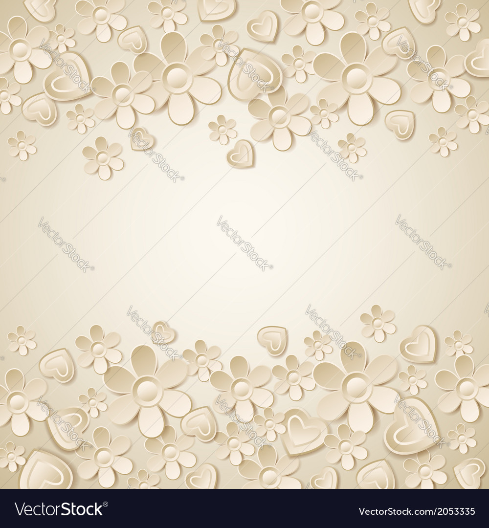 Beige valentine background with many flowers vector | Price: 1 Credit (USD $1)