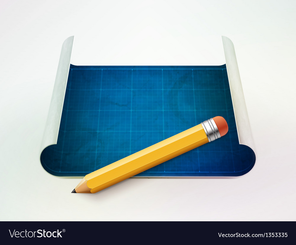 Blueprint and pencil vector