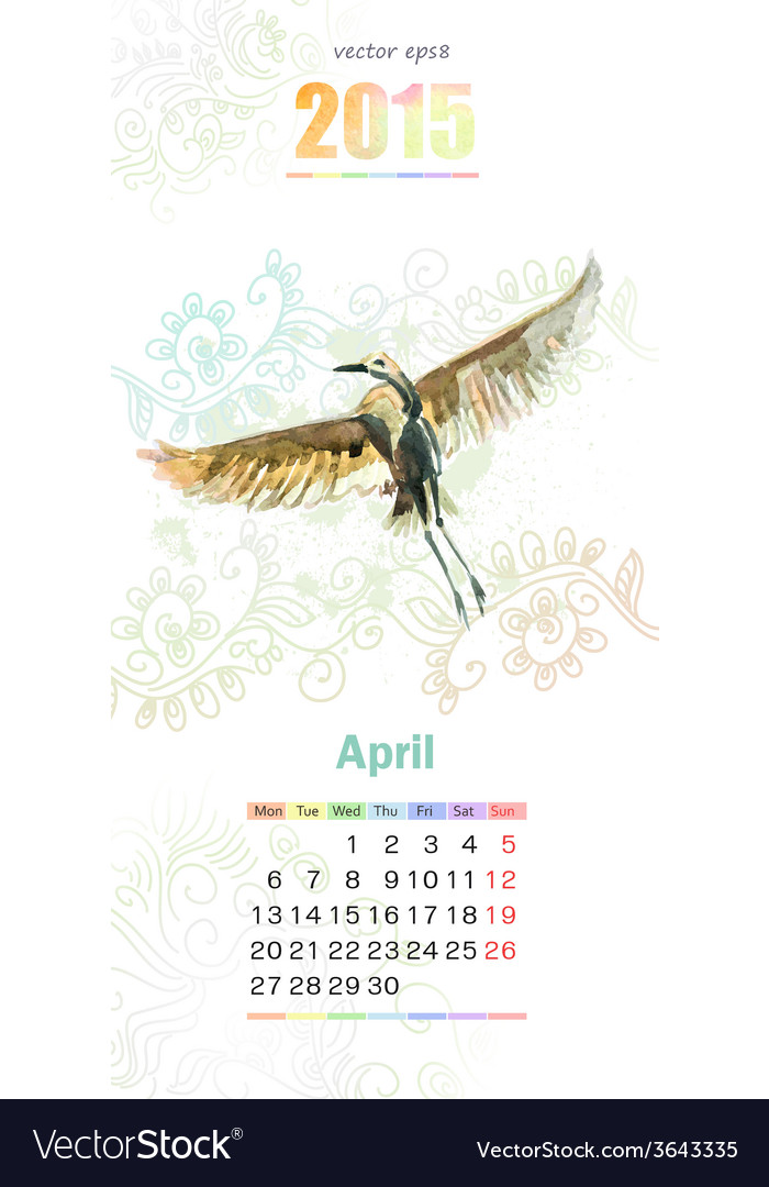 Calendar for 2015 april vector | Price: 1 Credit (USD $1)