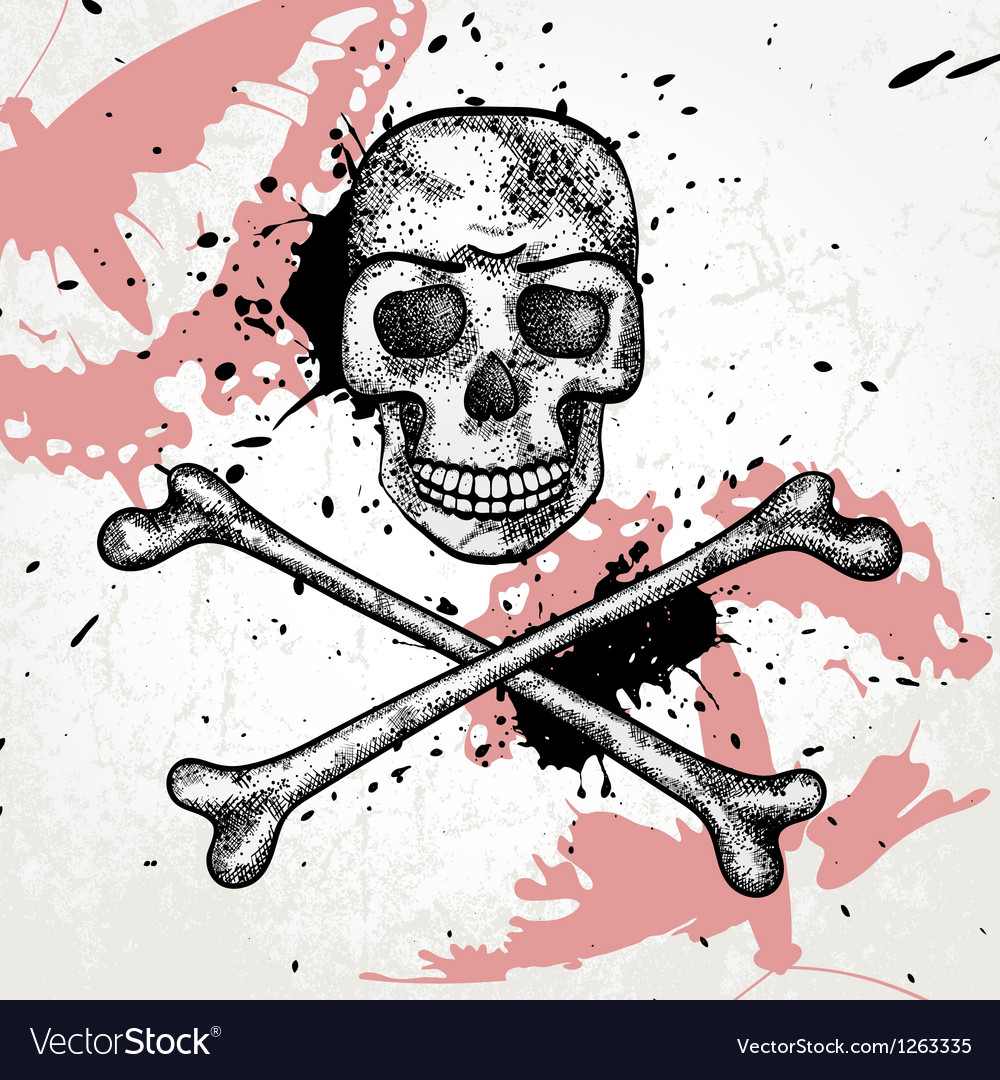 Design element with skull and butterfly vector | Price: 1 Credit (USD $1)