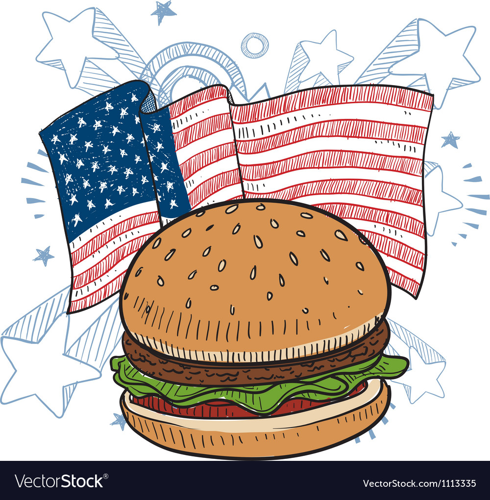 Doodle americana hamburger vector | Price: 1 Credit (USD $1)