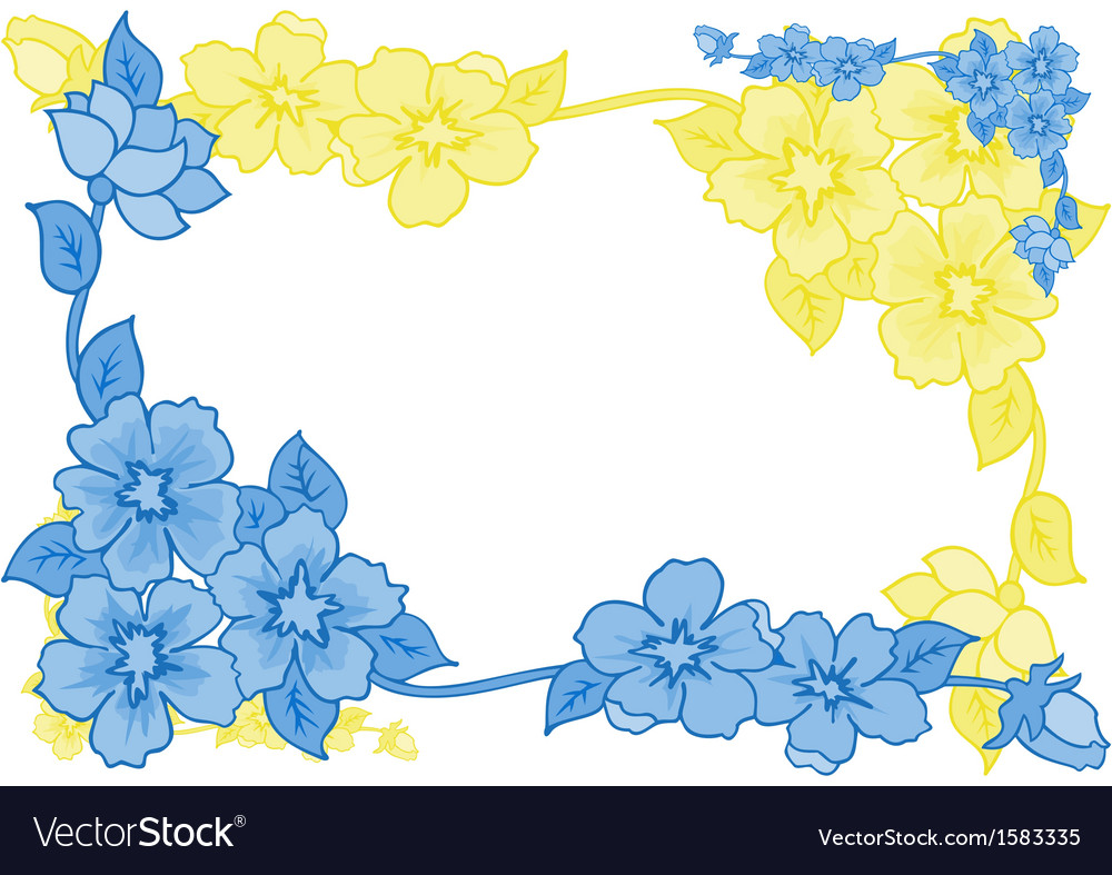 Frame from abstract blue and yellow flowers vector   Price: 1 Credit (USD $1)