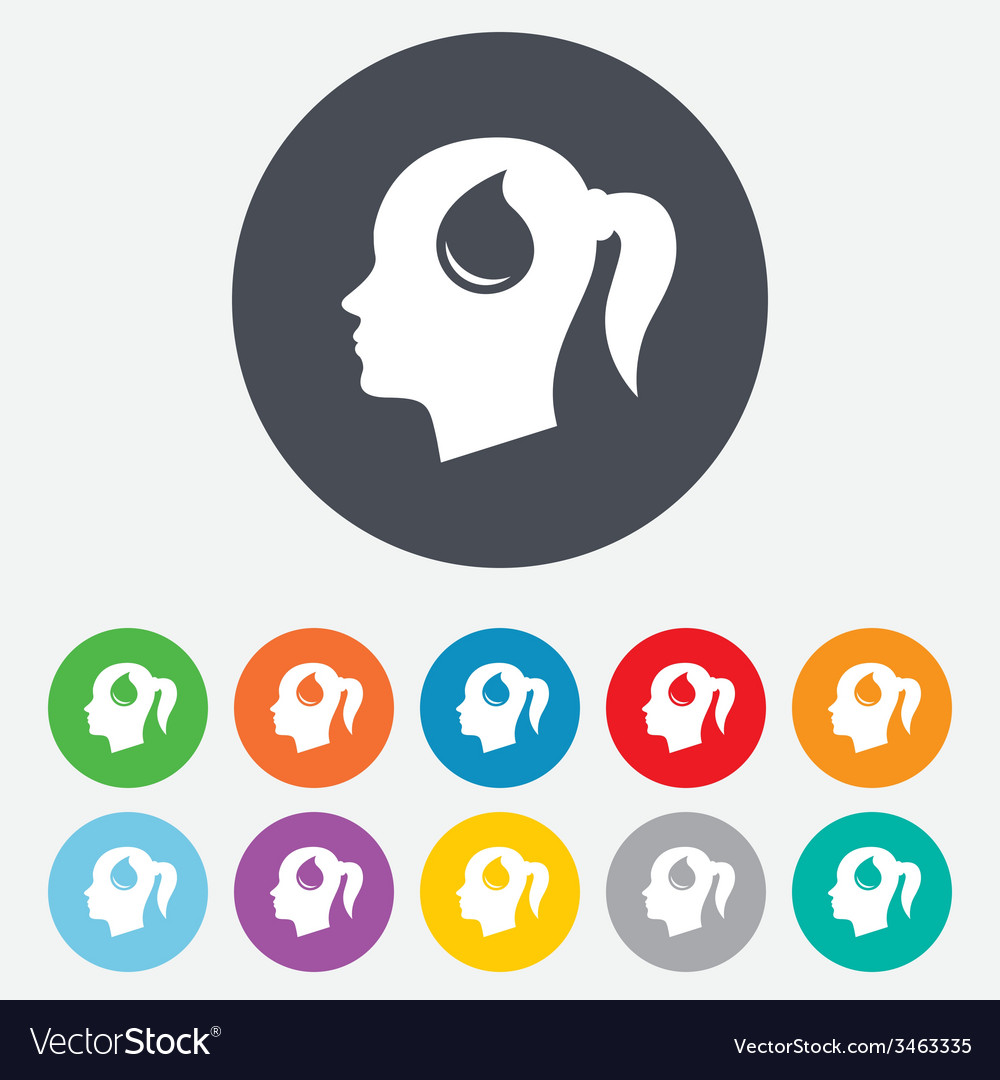 Head with drop sign icon female woman head vector   Price: 1 Credit (USD $1)