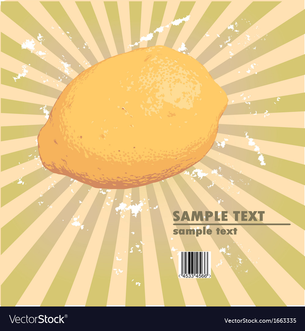 Lemon vintage design on radial ray background vector | Price: 1 Credit (USD $1)