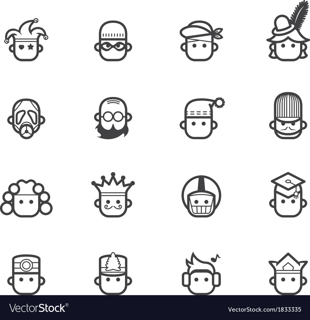 Ocupation black icon set 2 on white background vector | Price: 1 Credit (USD $1)
