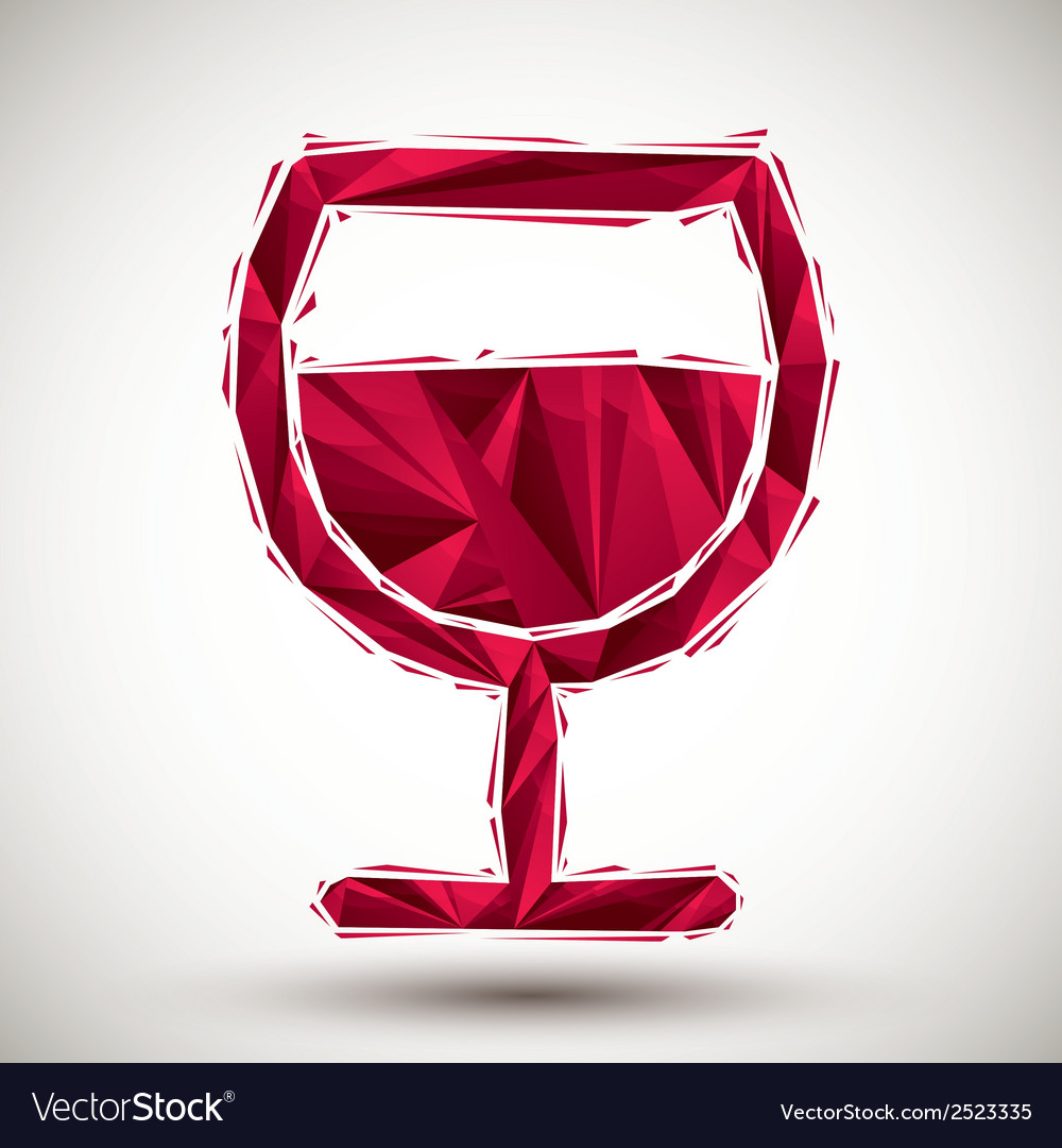 Red wine glass geometric icon made in 3d modern vector | Price: 1 Credit (USD $1)