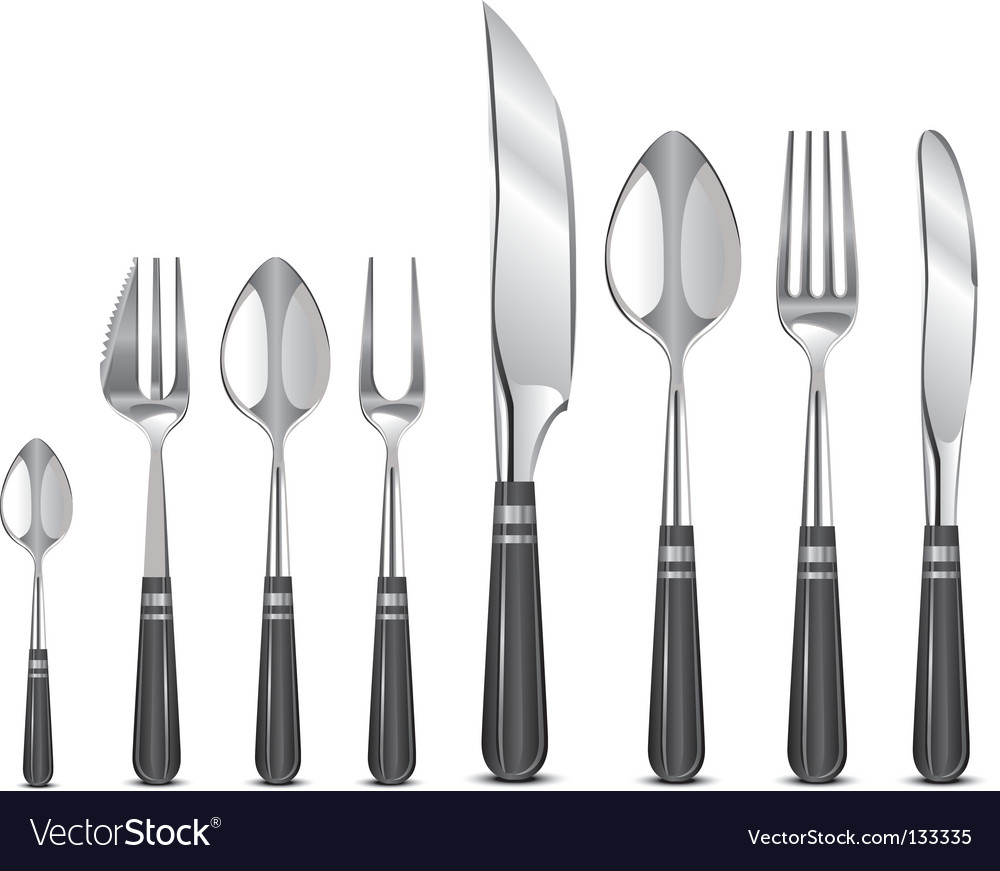 Silver tableware's vector | Price: 1 Credit (USD $1)