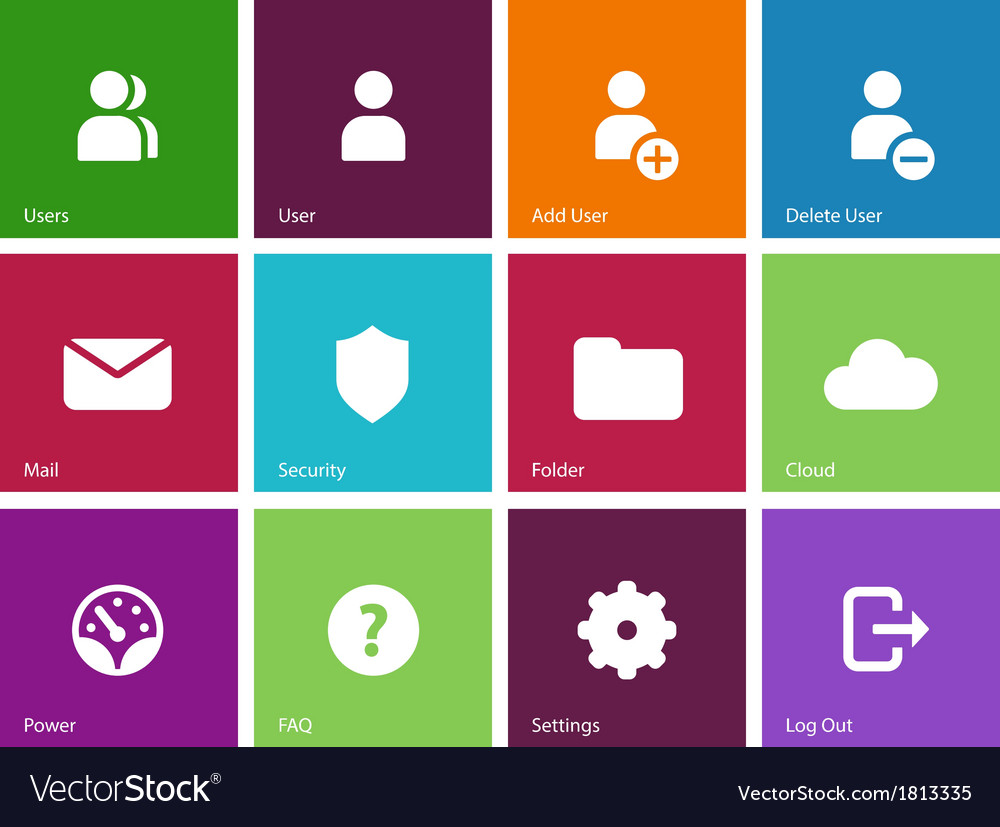 User account icons on color background vector | Price: 1 Credit (USD $1)