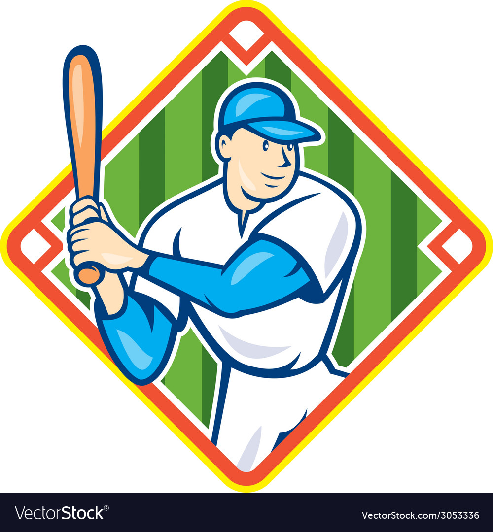 American baseball player batting diamond cartoon vector | Price: 1 Credit (USD $1)