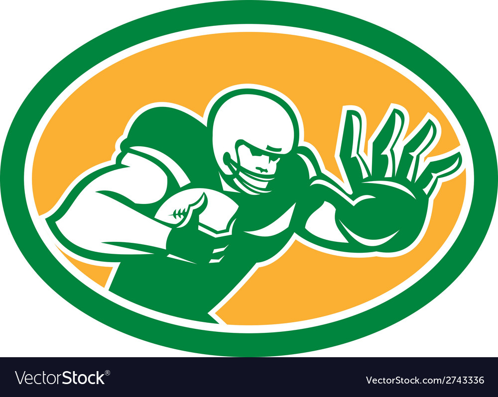 American football player fend off oval retro vector | Price: 1 Credit (USD $1)