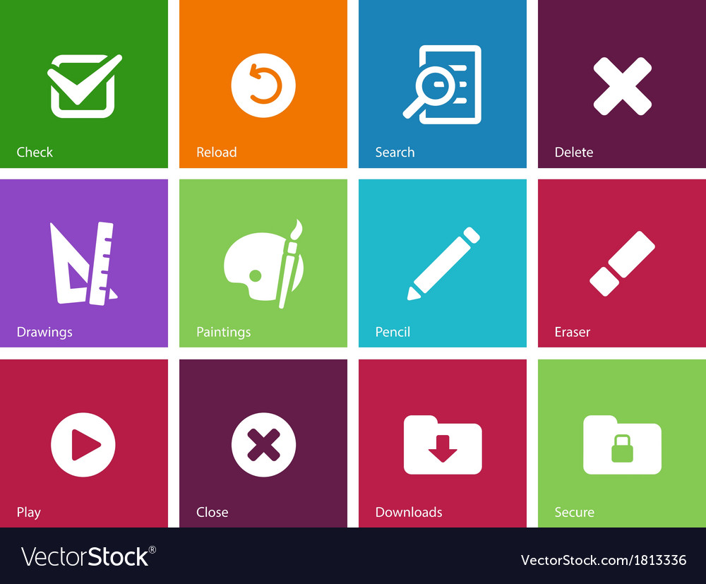 Application interface icons on color background vector | Price: 1 Credit (USD $1)