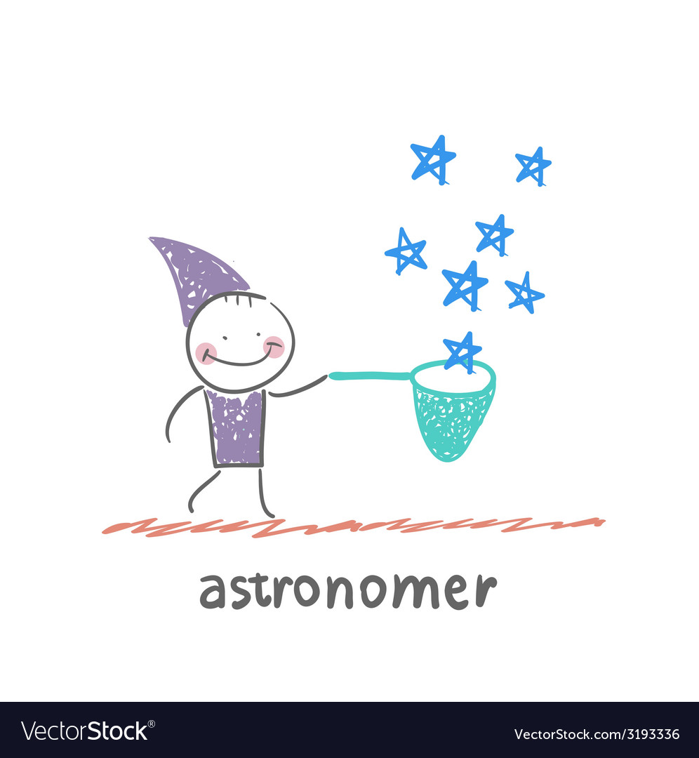 Astronomer collects stars vector | Price: 1 Credit (USD $1)