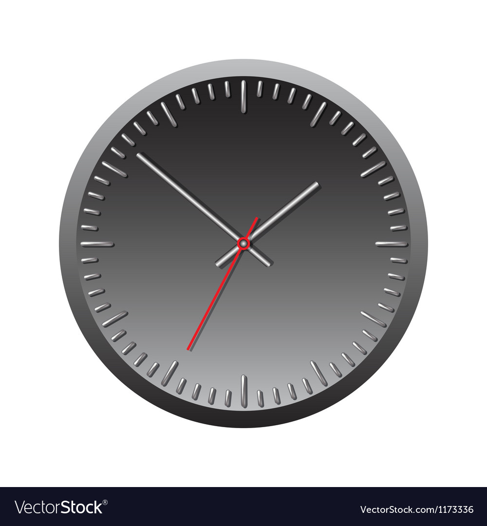Black wall mechanical clock vector | Price: 1 Credit (USD $1)