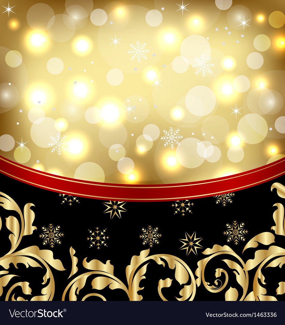Christmas ornamental golden background or holiday vector | Price: 1 Credit (USD $1)