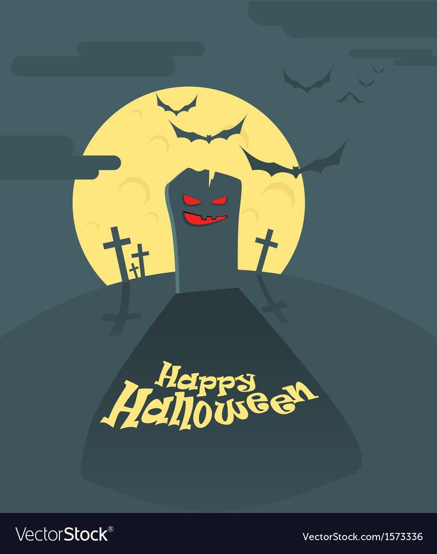Dark cemetery in a full moon happy halloween vector | Price: 1 Credit (USD $1)