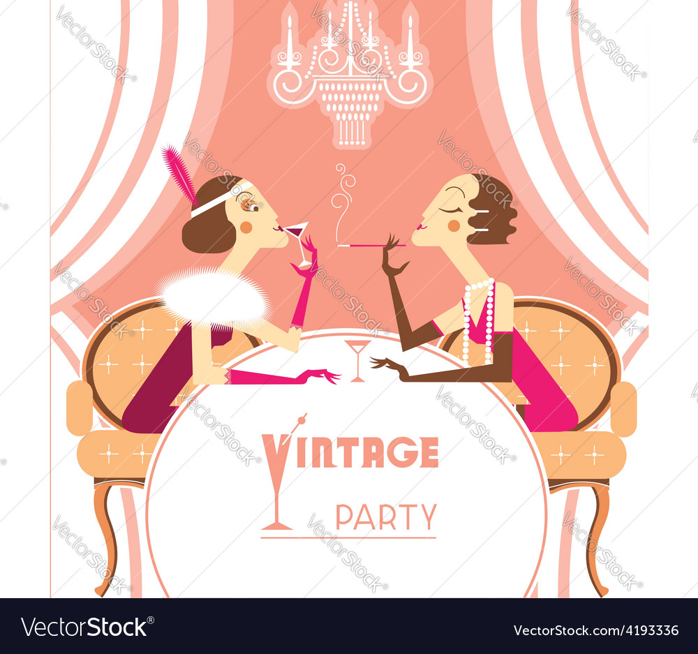 Flapper girls talking on retro party room vector   Price: 3 Credit (USD $3)