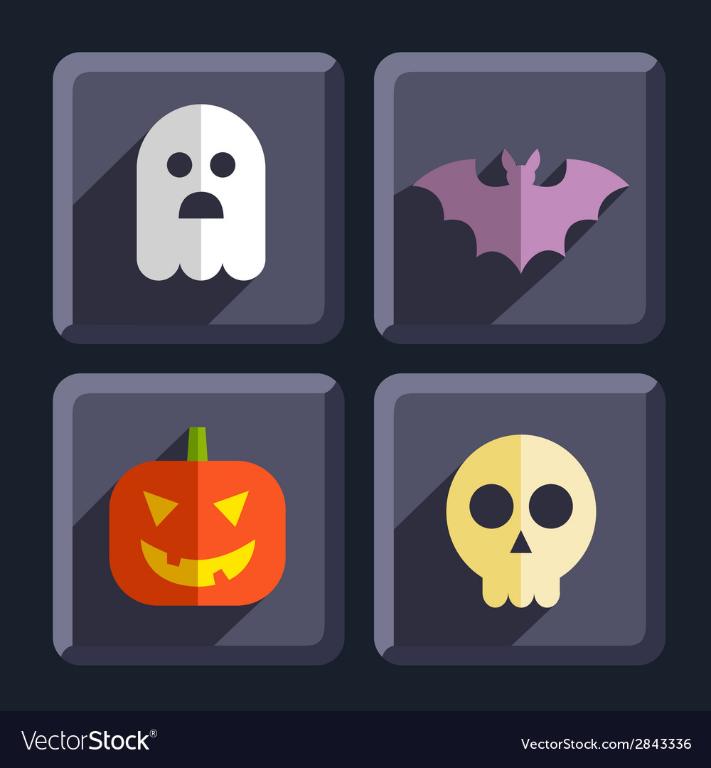Halloween flat icons badges set vector | Price: 1 Credit (USD $1)