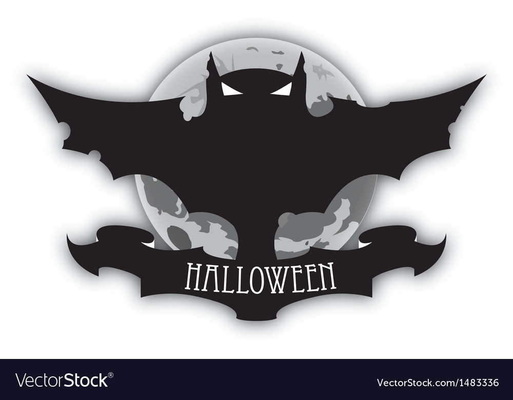 Holloween dark bat and moon vector | Price: 1 Credit (USD $1)
