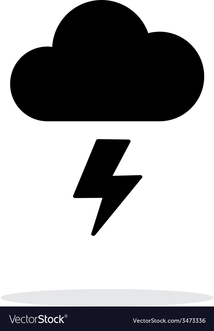 Lightning weather icon on white background vector | Price: 1 Credit (USD $1)