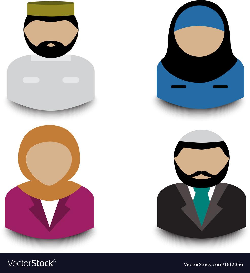 Muslim avatars vector | Price: 1 Credit (USD $1)