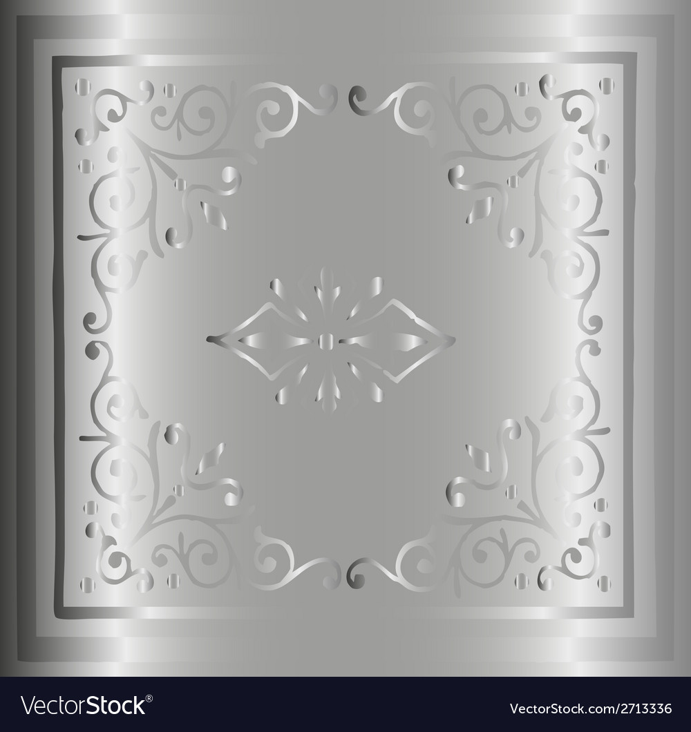 Silver background hand drawn retro floral and vector