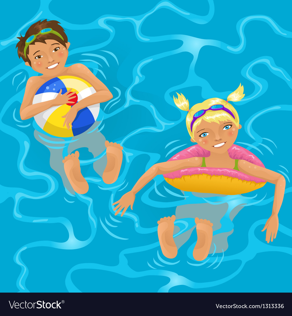 Two kids in water vector | Price: 5 Credit (USD $5)