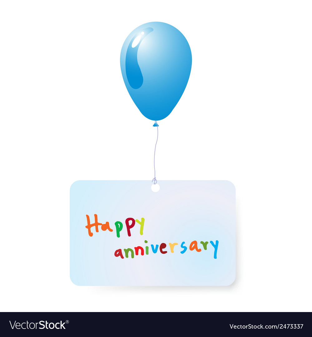 Balloon with happy anniversary vector   Price: 1 Credit (USD $1)