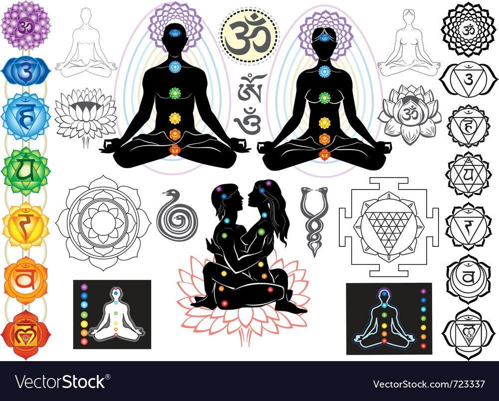 Chakras and esoteric symbols vector